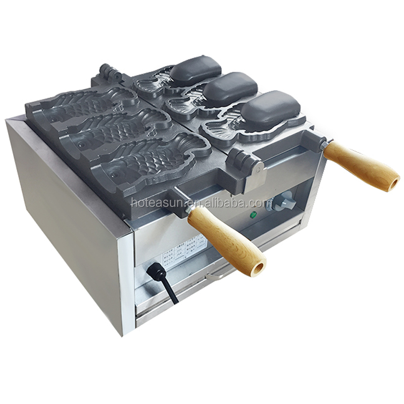 3pcs Fish Commercial Use Non-stick 110v 220v Electric Ice Cream Taiyaki Machine Iron