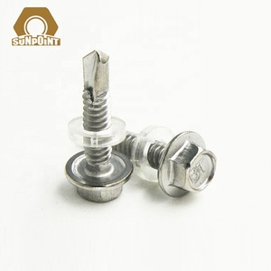 Stainless steel hex flange head self drilling tek screws/self tapping screw with PVC washer