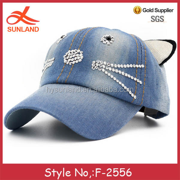 F-2556 new lovely cat ears wash denim hat wholesale rhinestone baseball caps