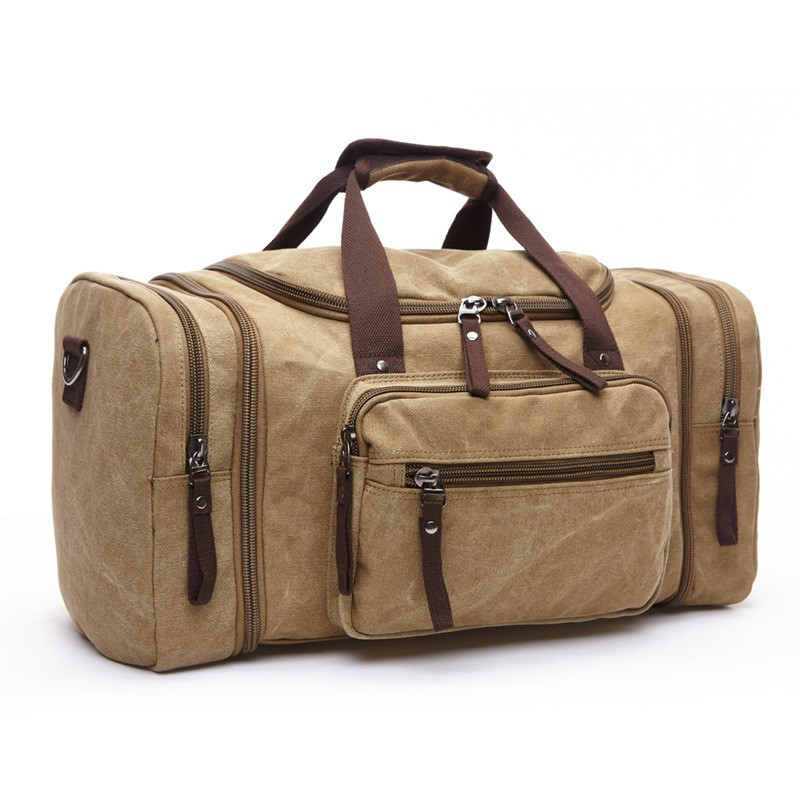 wholesale tote fancy canvas camel travel bag big