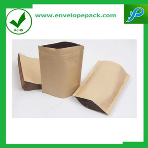 Kraft Bags Brown Paper Stand-Up Pouch with Zip Lock Closure and Window Cutout