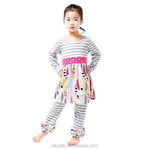 Hot sale bulk wholesale kids clothing outfits cheap strip ruffles cloth