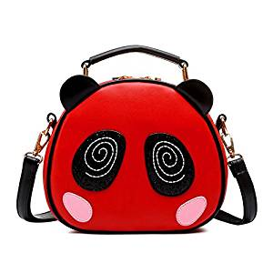 Messenger Bag - SODIAL(R)Print bag Crossbody Bag Circle Bags Leather Women with Fur Ball Of Women Messenger Bag Panda red