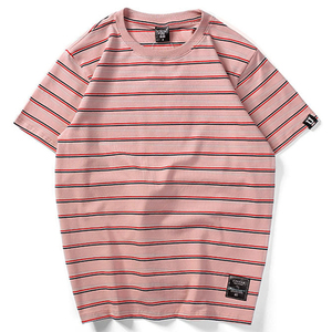 wholesale cotton unisex horizontal summer women men striped t shirt