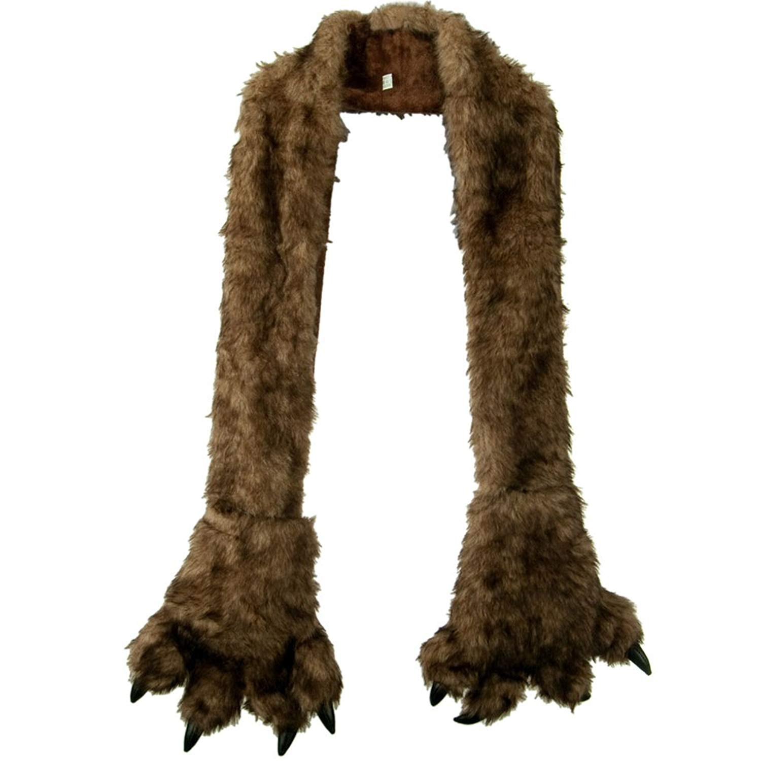 Furry Animal Scarf with Paws - Brown Bear W30S44E