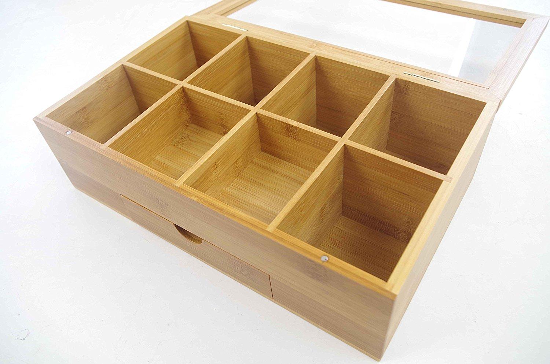 Bamboo Tea Storage Organizer Box With Clear Lid BTB-18051001 Details 5