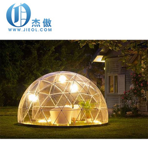 High grade white coated steel geodesic dome tent with PVC fabric cover and a round shape PVC door