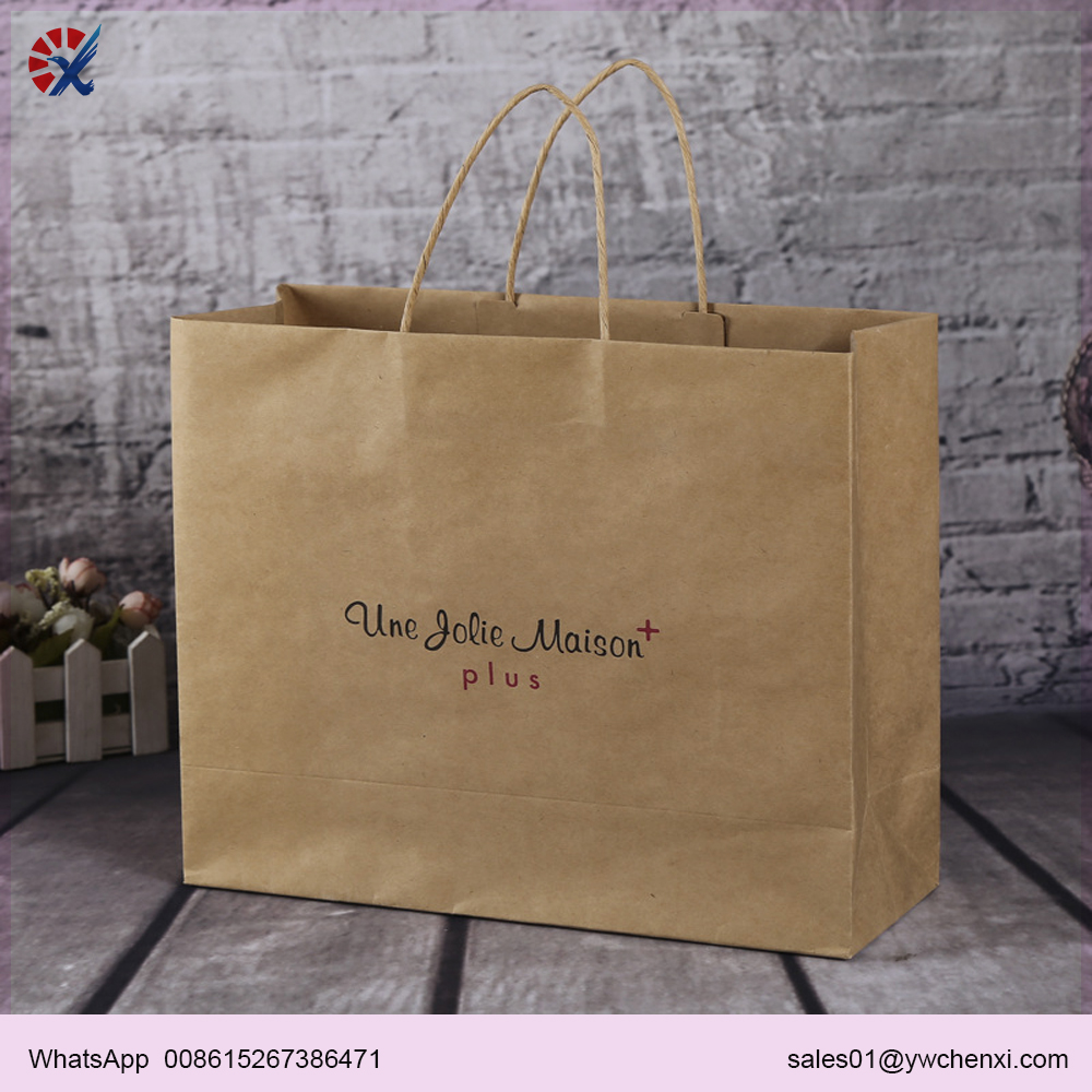 Custom recycled luxury craft gift carry shopping brown kraft paper bag