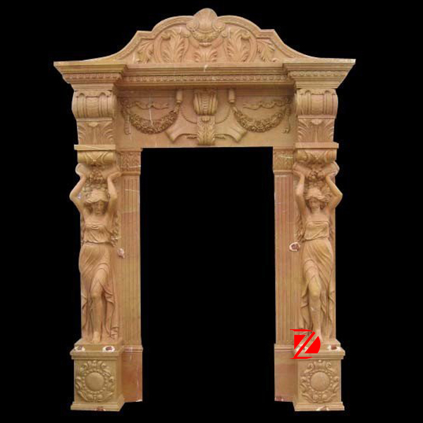 Hand Carved Marble Door Frame Design With Lady Carving