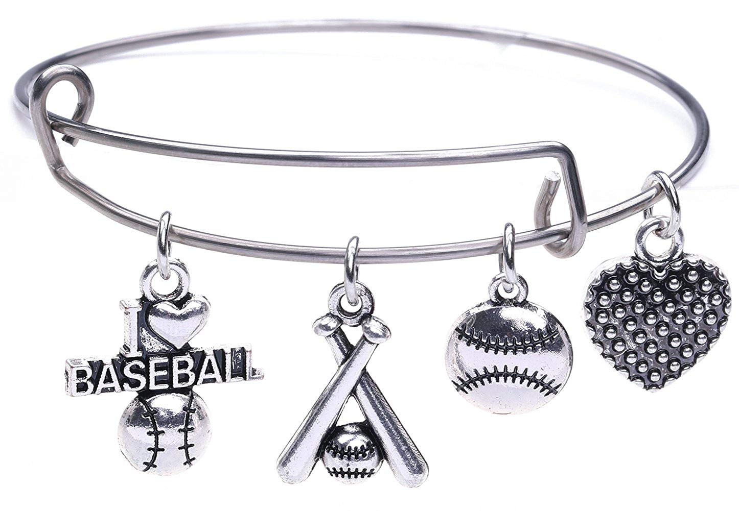 I Love Baseball with Sticks Baseball Heart Metal Alloy Charm Bangle Bracelet Jewelry for Sports Lover