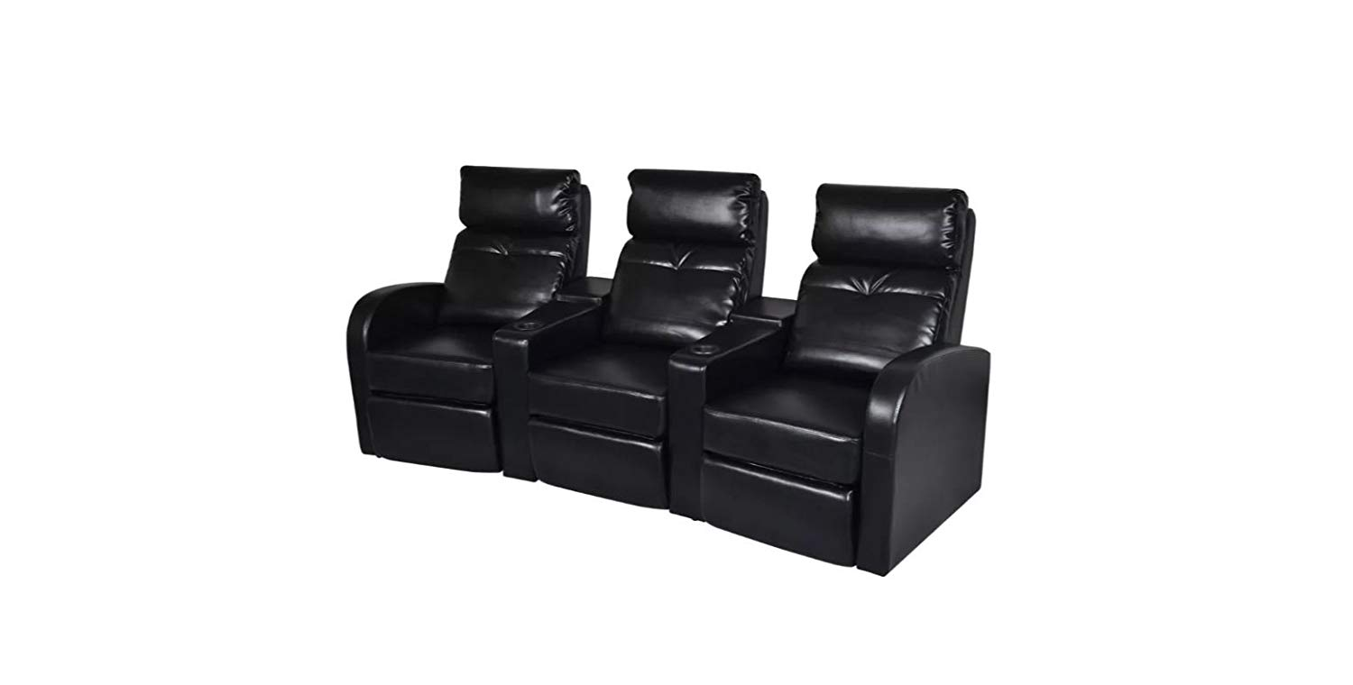 Home Cinema Recliner Reclining Sofa 3-seat Artificial Leather Black K&A Company