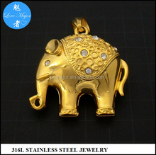 Gold Plated Stainless Steel Elephant Charm Pendant Fashion Women Jewelry with Animal MJKP-202