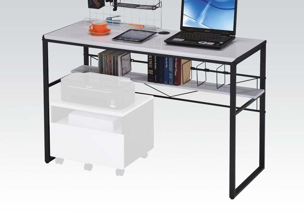 Simple Relax 1PerfectChoice Ellis Home Office Computer Writing Desk Optional File Cabinet Black White Metal