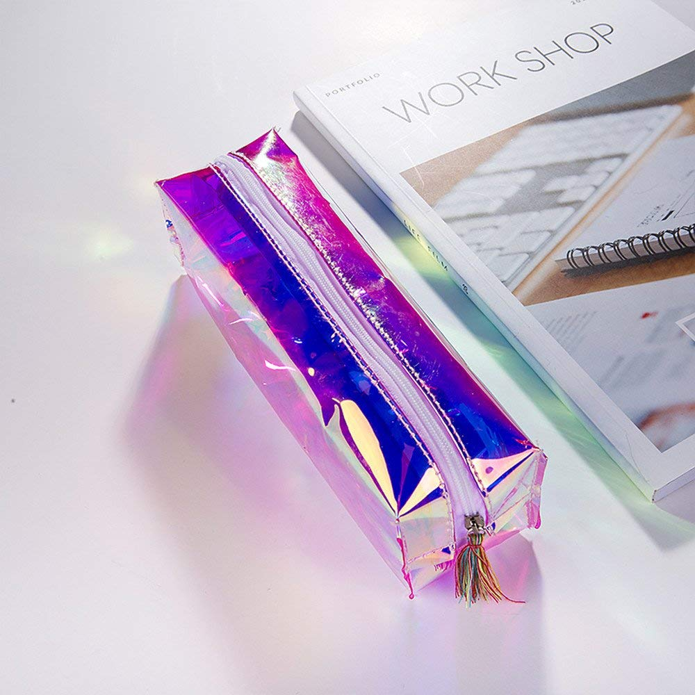 Rumas Individual Transparent Pencil Case as Shcool Supplies, Portable Tassel Zipper Pen Bag Container (Multicolor)