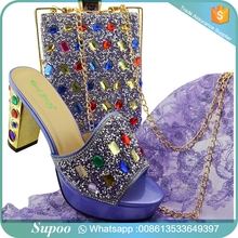 New Arrival Lilac Color Nigerian Party Shoe and Bag Sets Matching Shoes and Bag Set