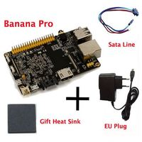 Original Banana Pro+CPU Heat Sink+Sata Cable+EU Plug Charger Beyond Banana Pi Soc Allwinner A20 With WIFI