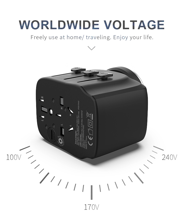 Otravel SL-203 5V 3.4A grounding universal travel adapter with usb