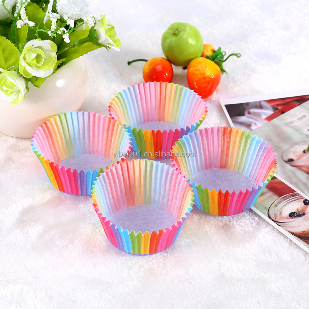 100Pcs/lot Colorful Rainbow Paper Cake Cupcake Liners Baking Muffin Cup Case Party