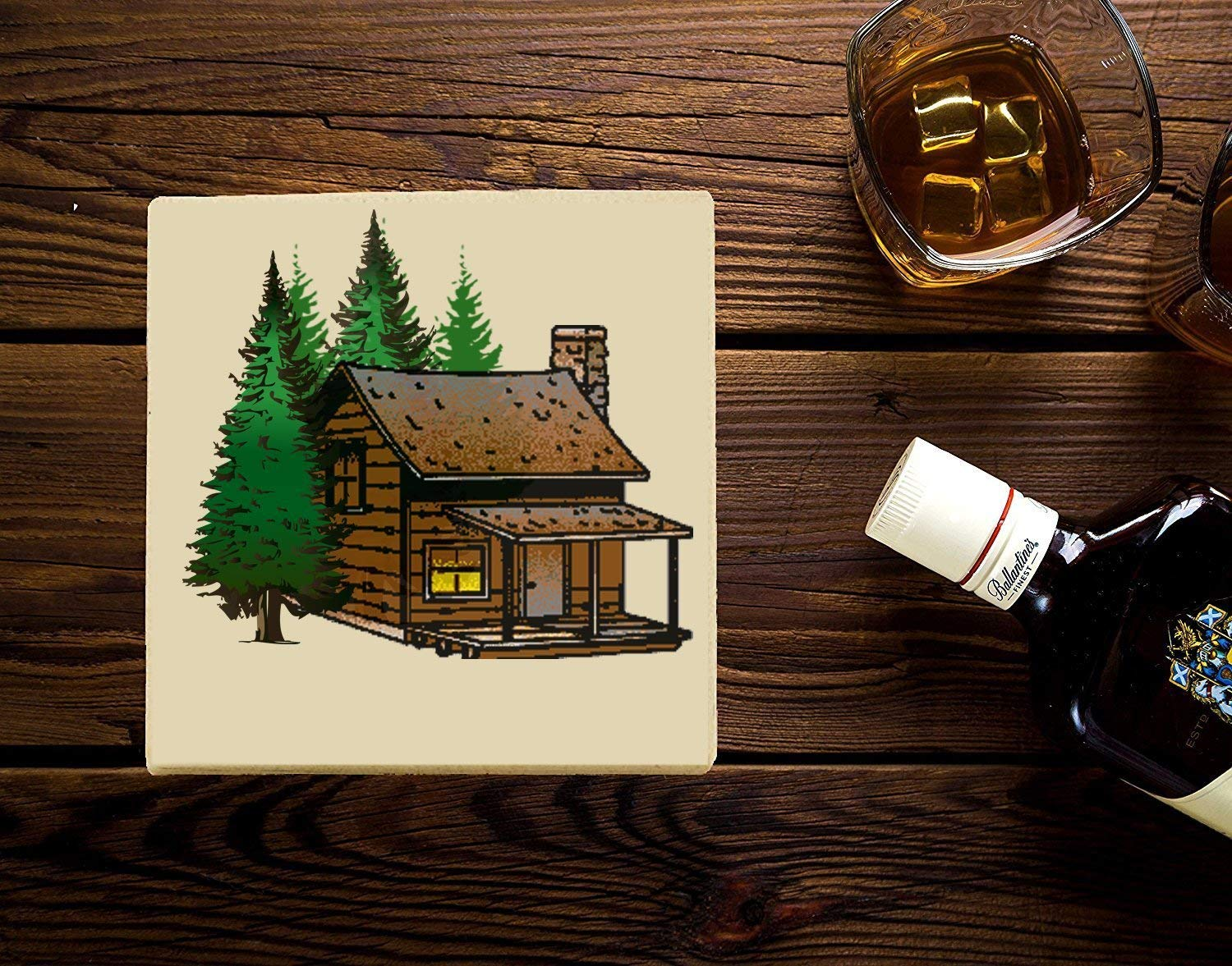 Log Cabin Coasters, Set of 4 Coasters.Sandstone or Neopreen Lodge Cabin Decor