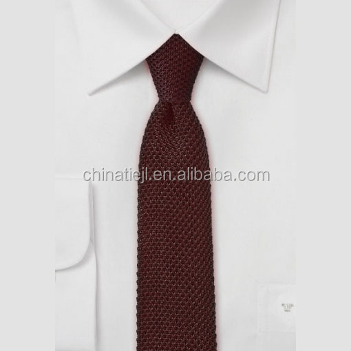 Factory Stocks For Retail Point End Plain Burgundy 100% Silk Knitted <strong>Tie</strong>