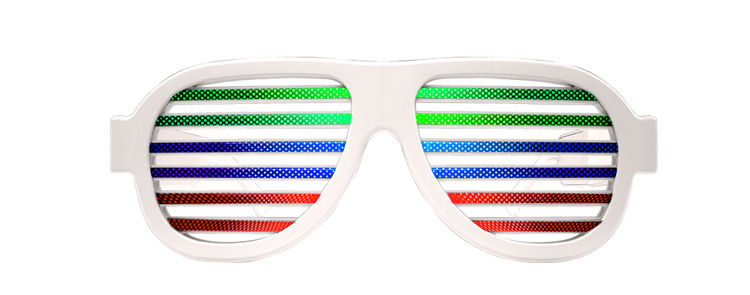 Party Decoration Rainbow Color Sound Activated Led Sunglasses For Man