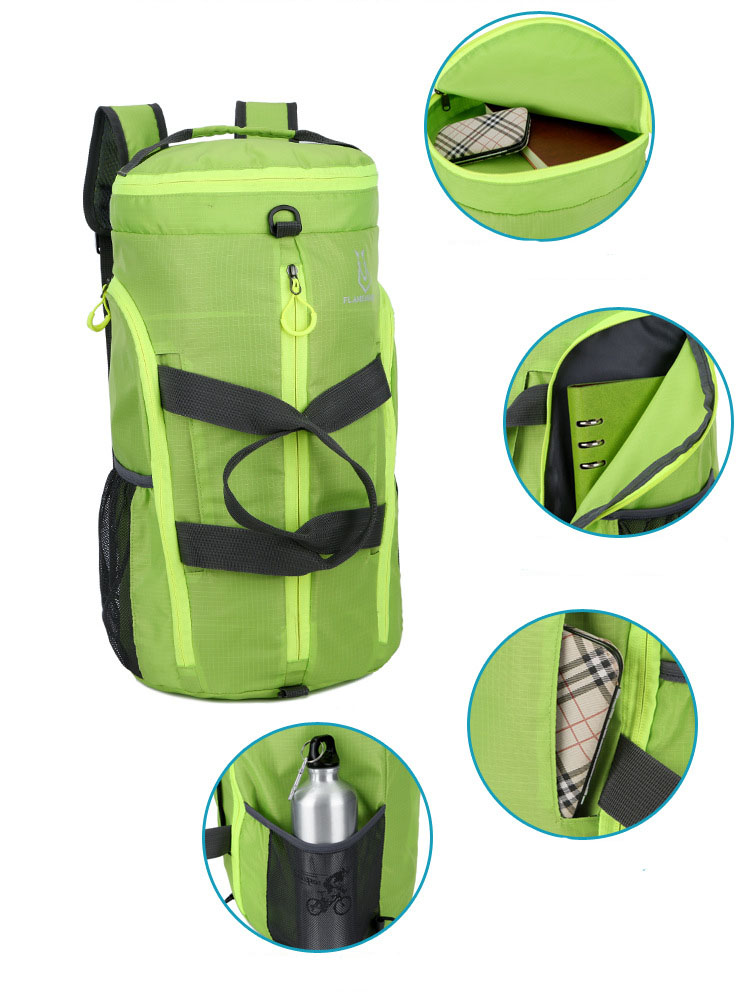 Polyester Foldable Outdoor Sport Backpack Travel Duffle Bag