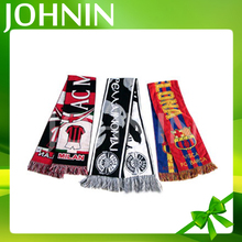 High Quality Logo Printed Acrylic Knitted Jacquard soccer fans scarf