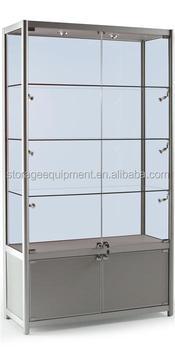 lockable glass display door display wooden cabinet