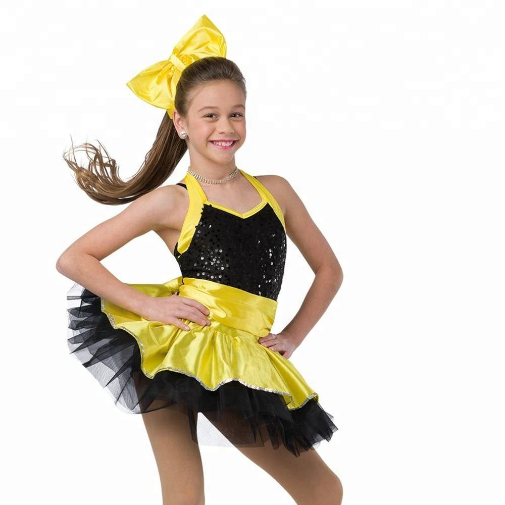 Girls Black And Yellow Sequins Ballet Dress Ballet Tutu Dance Costume , Buy  Ballet Tutu,Girls Ballet Tutu,Girls Performance Ballet Tutu Product on