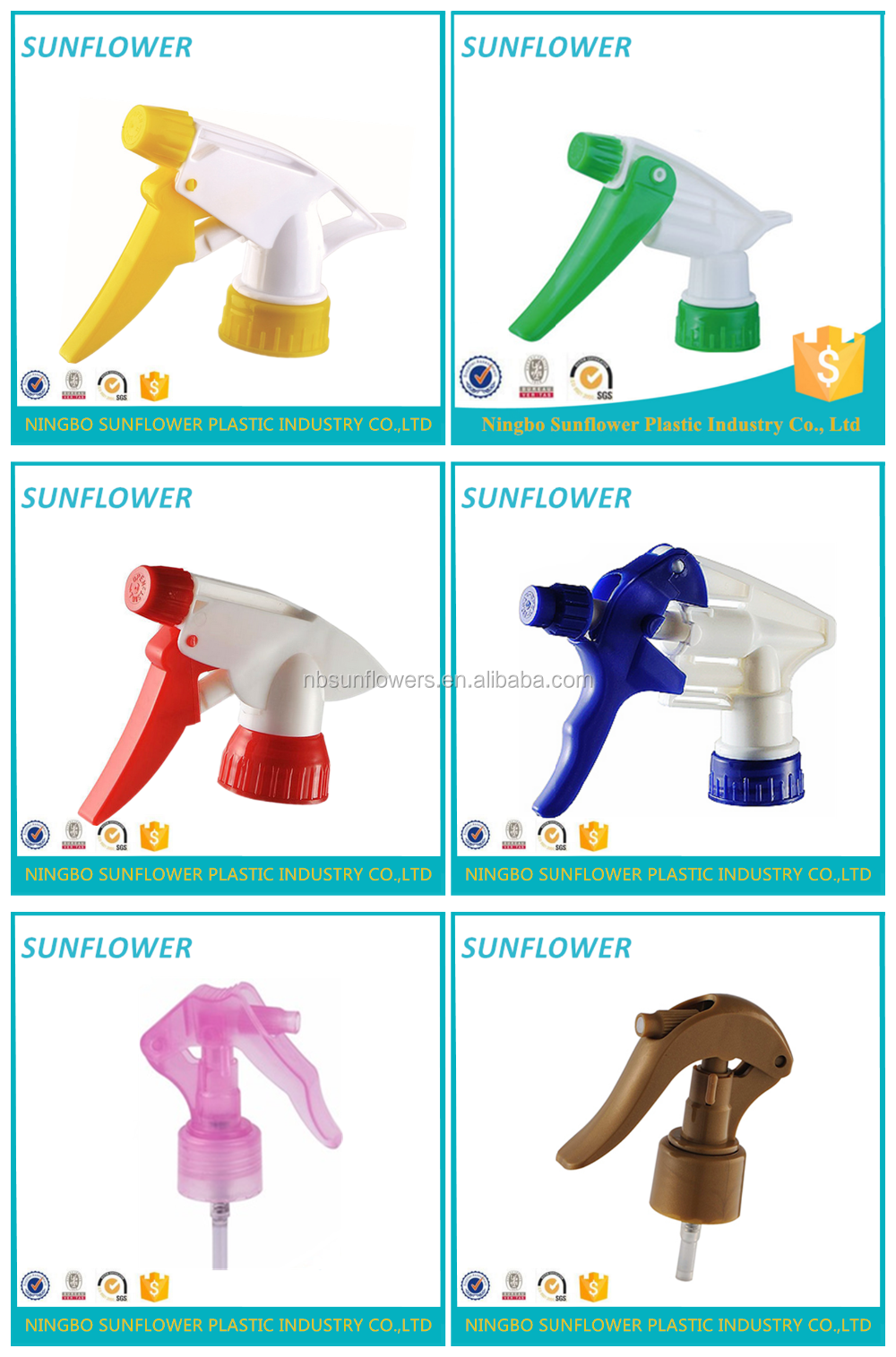Top-selling China Ningbo Sunflower 28/410 PP trigger sprayer /sprayer agricultural