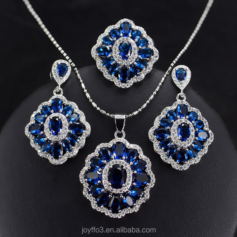 Luxurious Sapphire Blue Gemstone Cubic Zirconia 3 PCS Earring Ring Necklace Women Jewelry Set