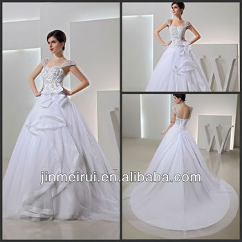 Magnificently Embroidery Cap Sleeve Ball Gown Tulle White Wedding ...