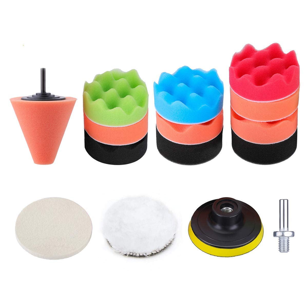 3 Inch Buffing Sponge Pads DRILLPRO 15 PCS Car Foam Polishing Pad Kit Compound Drill Buffing Sponge Pads Kit for Car Sanding, Polishing, Waxing, Sealing Glaze