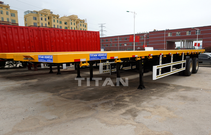 TITAN 20FT / 40FT length 40t pay load container transport flatbed semi trailer with one point suspension