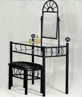 Buy Black Metal Bedroom Vanity with Glass Table & Bench Set ...