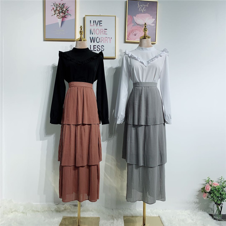 Fashion half skirts young women elegant wearing 3 levers cake styles skirts
