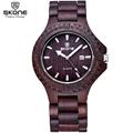SKONE Antique Wood Watch with Date Dark Coffee Sandalwood Watches Men Luxury Brand Analog Quartz Wristwatch