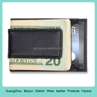 Mens Credit Card Holder and Money Clip - Black Leather Wallet Fits Front Pocket