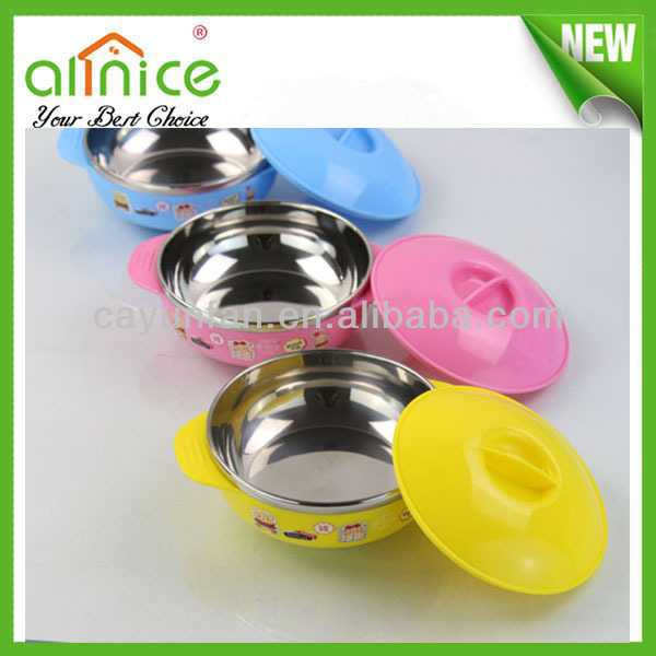 2014 new product stainless steel kids bowls/colorful kids soup bowl/stainless steel kids bowls with lid