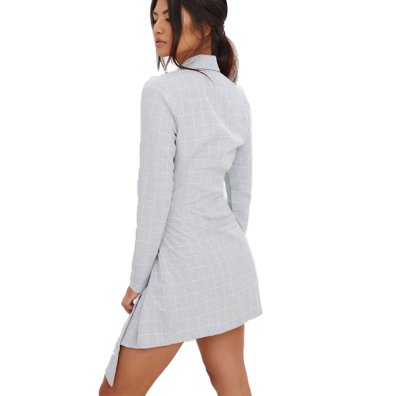 Fashion women long sleeves blazer belted shirt dress summer spring wear for office lady