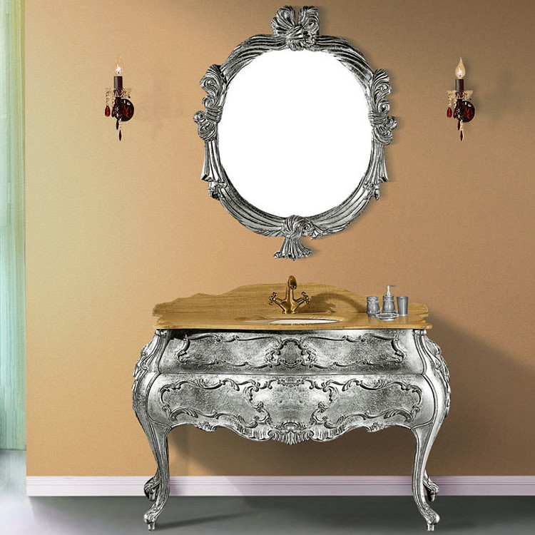 51'' Small Bathroom Sink And Vanity Combo In Silver Decor ...