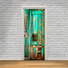 3D стикер на дверь ретро старая деревянная дверь станция бар Лифт полицейский зал метро лестницы цветные кирпичи потянув дверь домашний дек...(Китай)