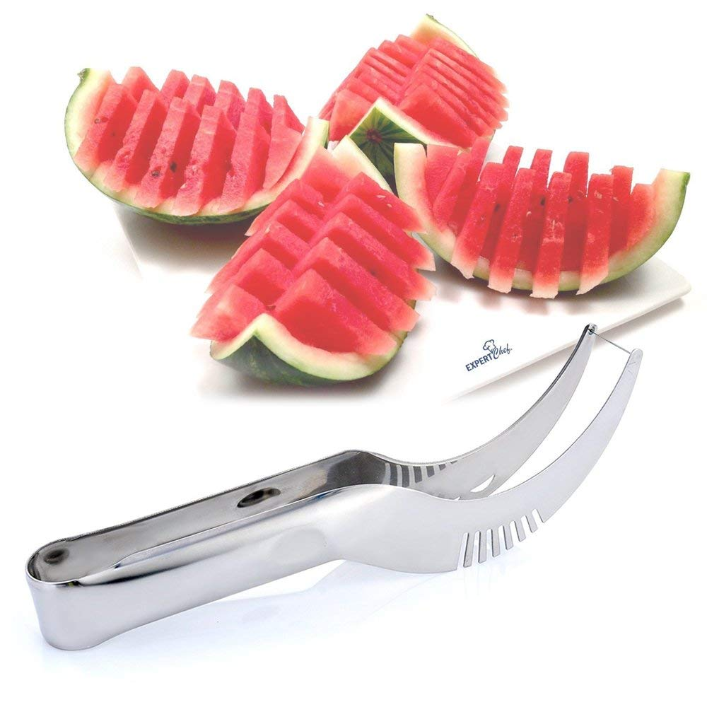 Fornorm Stainless Steel Watermelon Slicer Server Fruit Melon Cutter Corer Scoop Non-Slip Grip For Watermelon Cantaloupe Cake