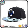 Embroidered flat bill cap snap back plain hat with custom brim