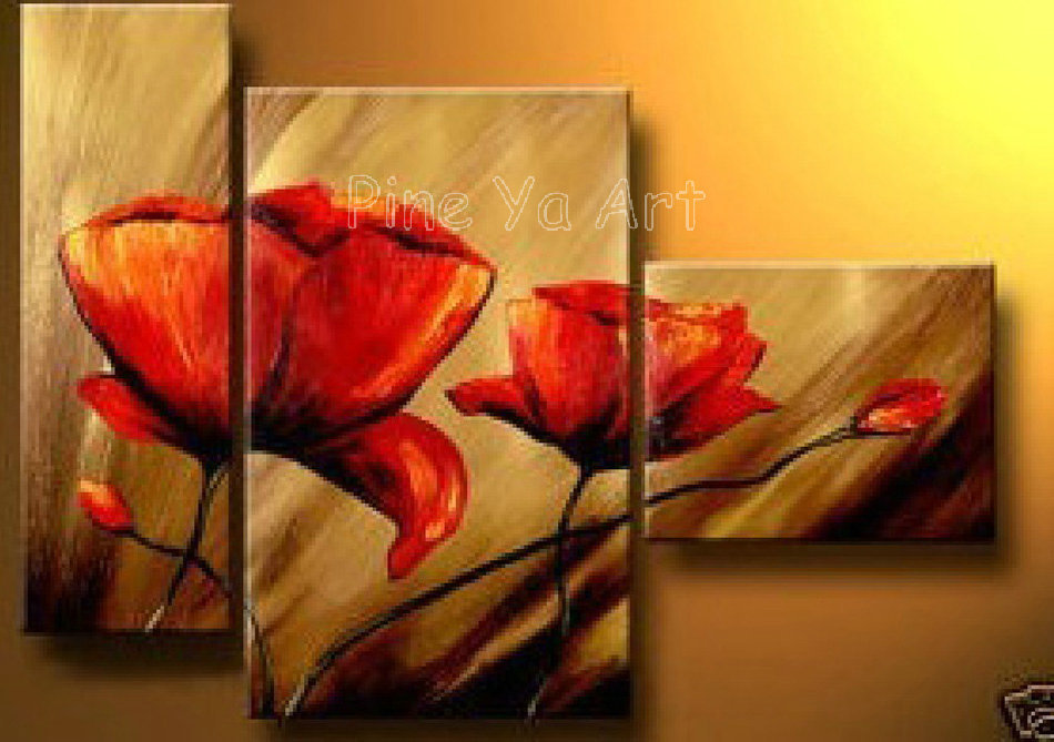3pieces Modern Abstract Huge Wall Art Oil Painting On: 3 Piece Abstract Modern Canvas Wall Art Cheap Handmade Red