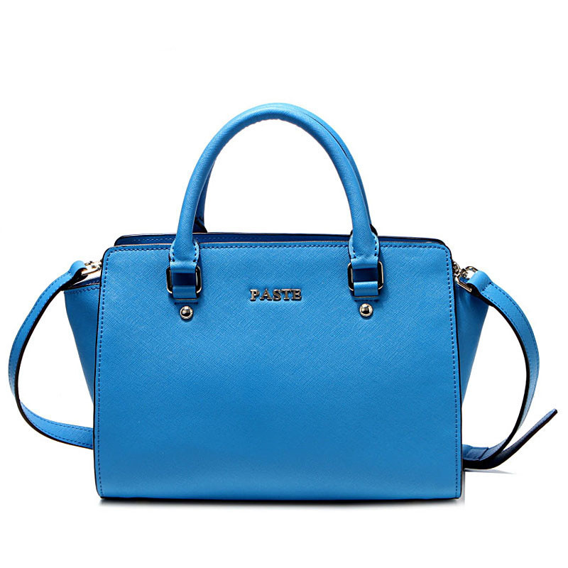 Top Brand fashion Genuine Leather large designer handbags,Simple Blue ladies bags solid Level cowhide shoulder Totes women
