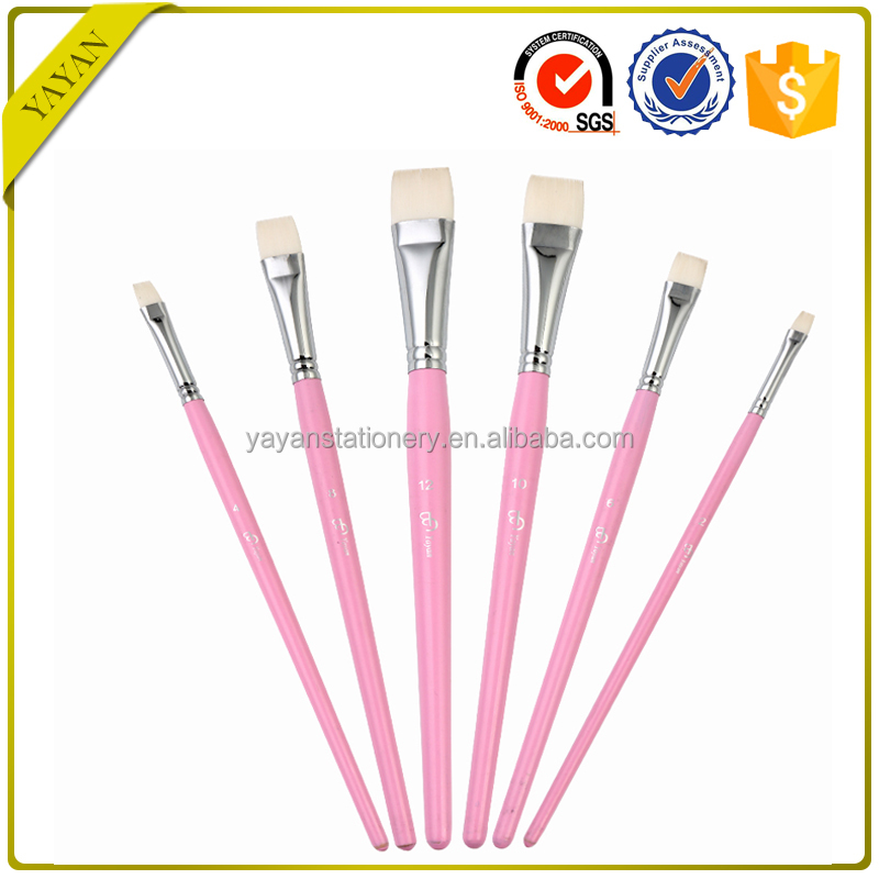Professional White Korean Taklon Flat Tip Acrylic Artist Painting Brushes Set with Factory Price