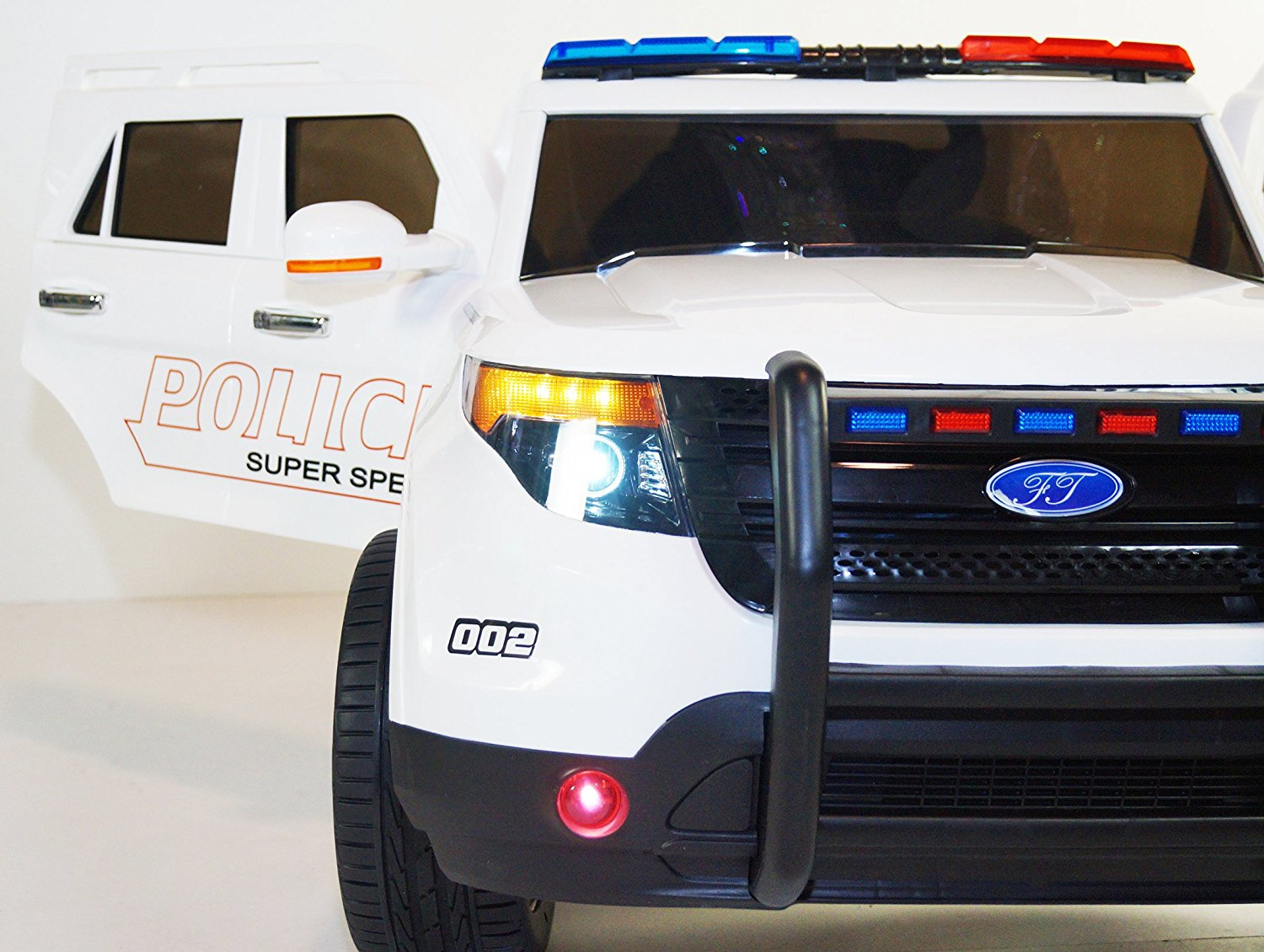 Electric cAr POLICE CAR/FORD style. Cars for Kids RIDE on CAR. WITH REMOTE CONTROL. BATTERY Operated. Ride on TOYS. MP3. ELECTRIC KIDS CARS. NEW. 2 to 6 years. Children. Girls and Boys.