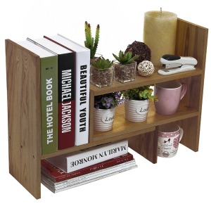 Adjustable Wood Desktop Storage Organizer Display Shelf Rack Counter Top Bookcase