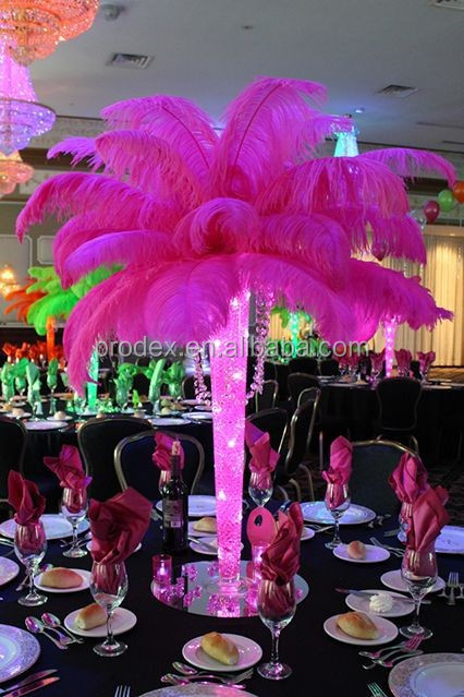 White Ostrich Feathers For Eiffel Tower Vases Centerpieces Buy
